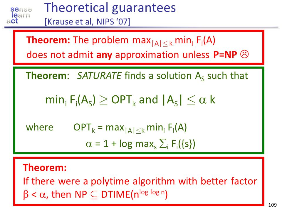 Theoretical guarantees [Krause et al, NIPS '07]